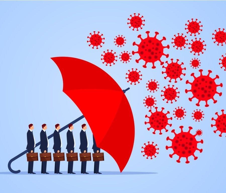 red umbrella protecting businessmen from virus bacteria